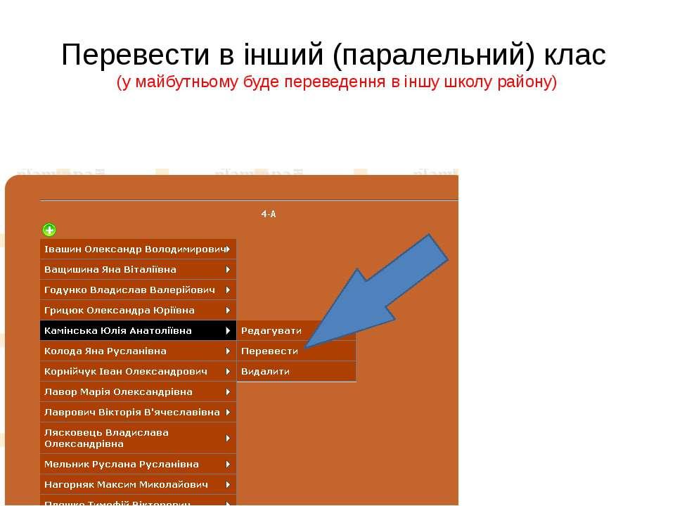 Перевести в інший (паралельний) клас (у майбутньому буде переведення в іншу ш...