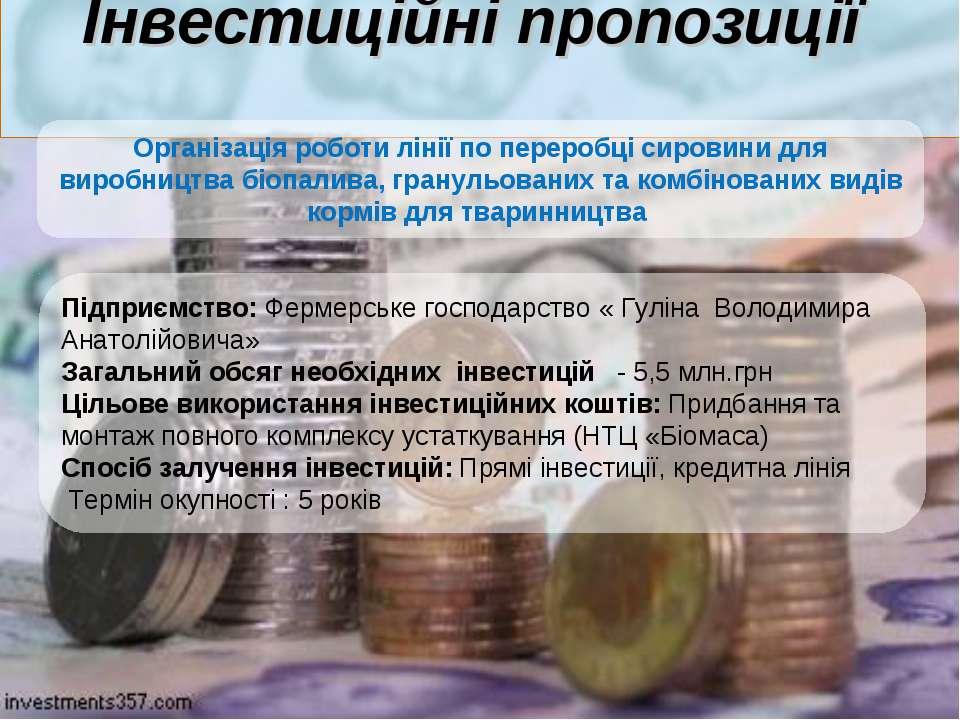 Інвестиційні пропозиції Підприємство: Фермерське господарство « Гуліна Володи...