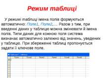 Режим таблиці У режимі таблиці імена полів формуються автоматично: Поле1, Пол...