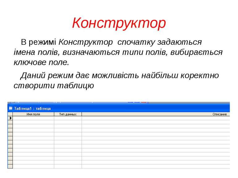 Конструктор В режимі Конструктор спочатку задаються імена полів, визначаються...
