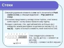 Стеки Операція додавання елемента в стек часто позначається Push (запис в сте...
