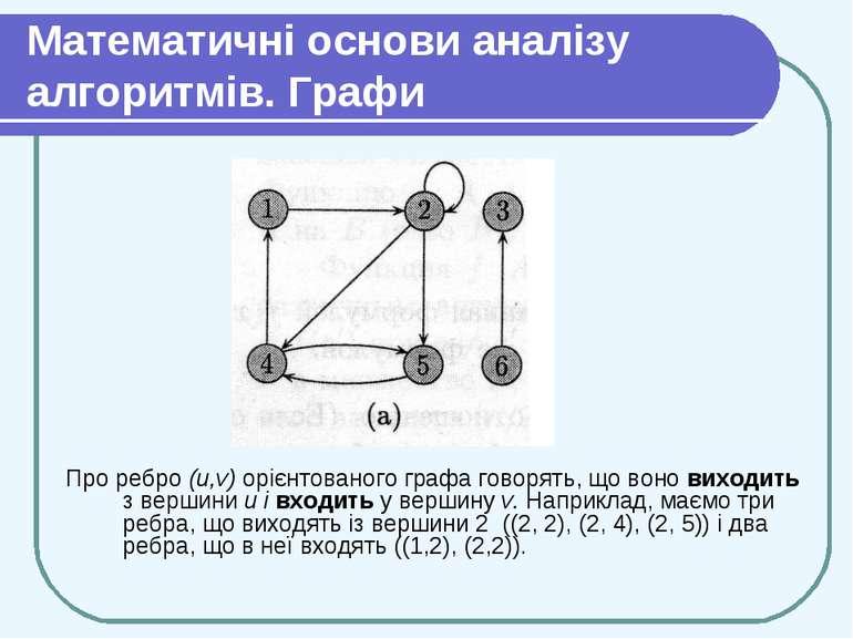 Математичні основи аналізу алгоритмів. Графи Про ребро (u,v) орієнтованого гр...