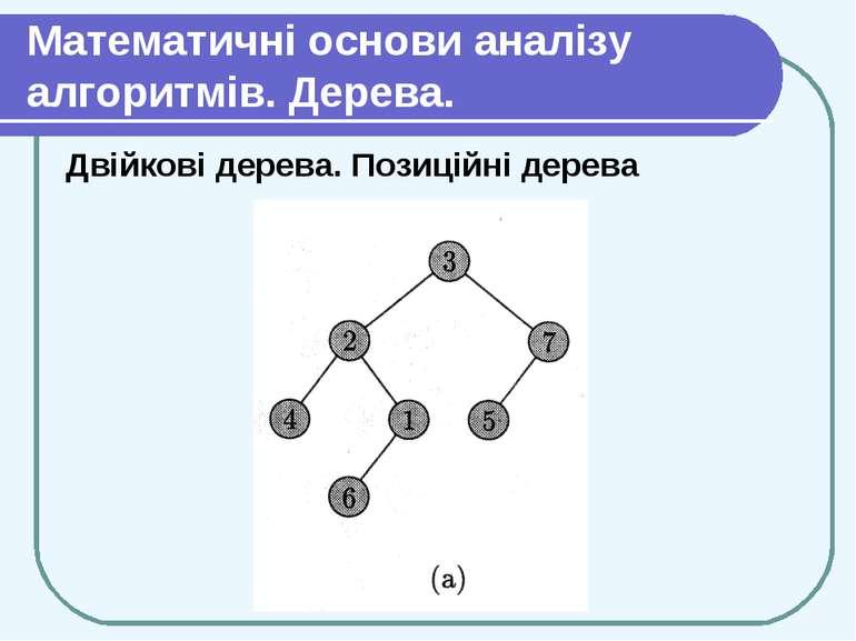 Математичні основи аналізу алгоритмів. Дерева. Двійкові дерева. Позиційні дерева