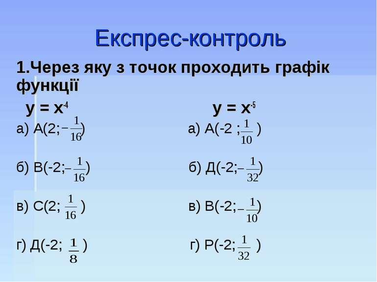 Експрес-контроль 1.Через яку з точок проходить графік функції у = х-4 у = х-5...