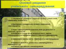 Основні завдання учнівського самоврядування 1. Формувати і розвивати соціальн...