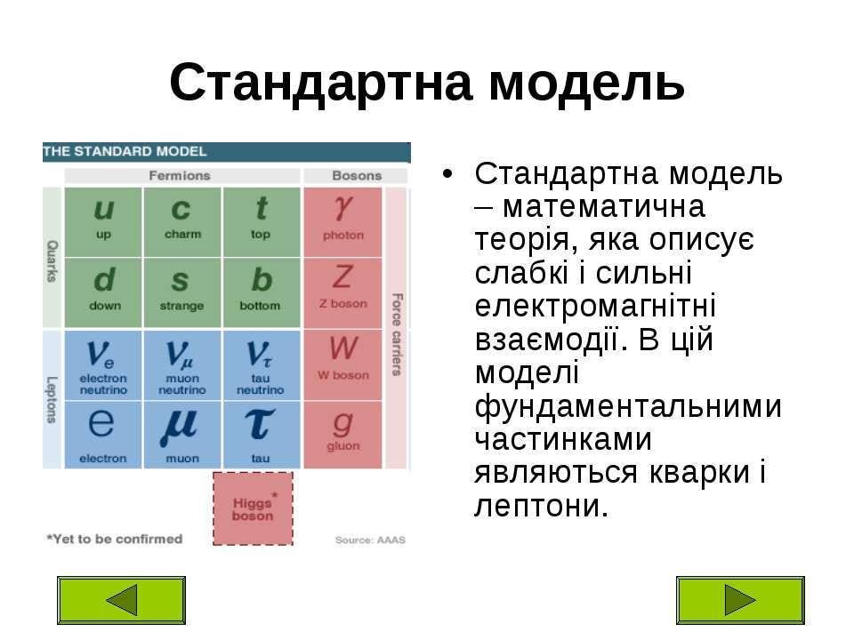 Стандартна модель Стандартна модель – математична теорія, яка описує слабкі і...
