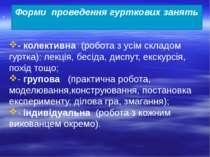 - колективна (робота з усім складом гуртка): лекція, бесіда, диспут, екскурсі...