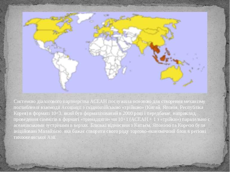 Системою діалогового партнерства АСЕАН послужила основою для створення механі...