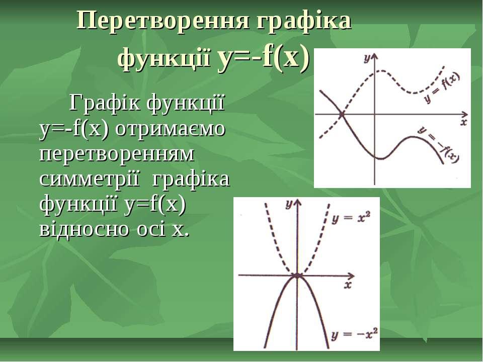 Перетворення графіка функції y=-f(x) Графік функції y=-f(x) отримаємо перетво...