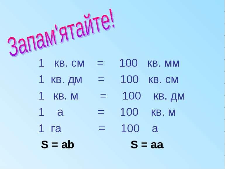1 кв. см = 100 кв. мм 1 кв. дм = 100 кв. см кв. м = 100 кв. дм 1 а = 100 кв. ...