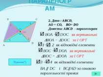 2. Дано : ABCD, AO = CO, BO= DO Довести: АВСD - паралелограм A B C D O ПАРАЛЕ...