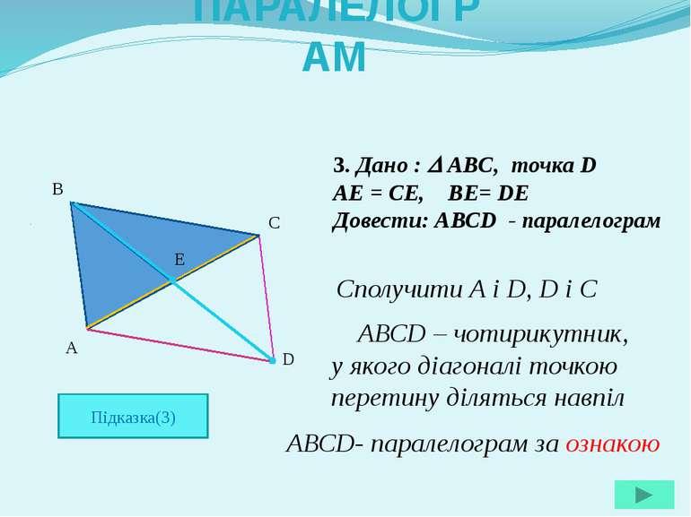 3. Дано : ABC, точка D AE = CE, BE= DE Довести: АВСD - паралелограм A B C D E...
