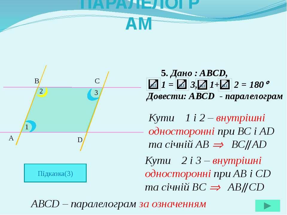 5. Дано : ABCD, 1 = 3, 1+ 2 = 180 Довести: АВСD - паралелограм A B C D 1 2 3 ...