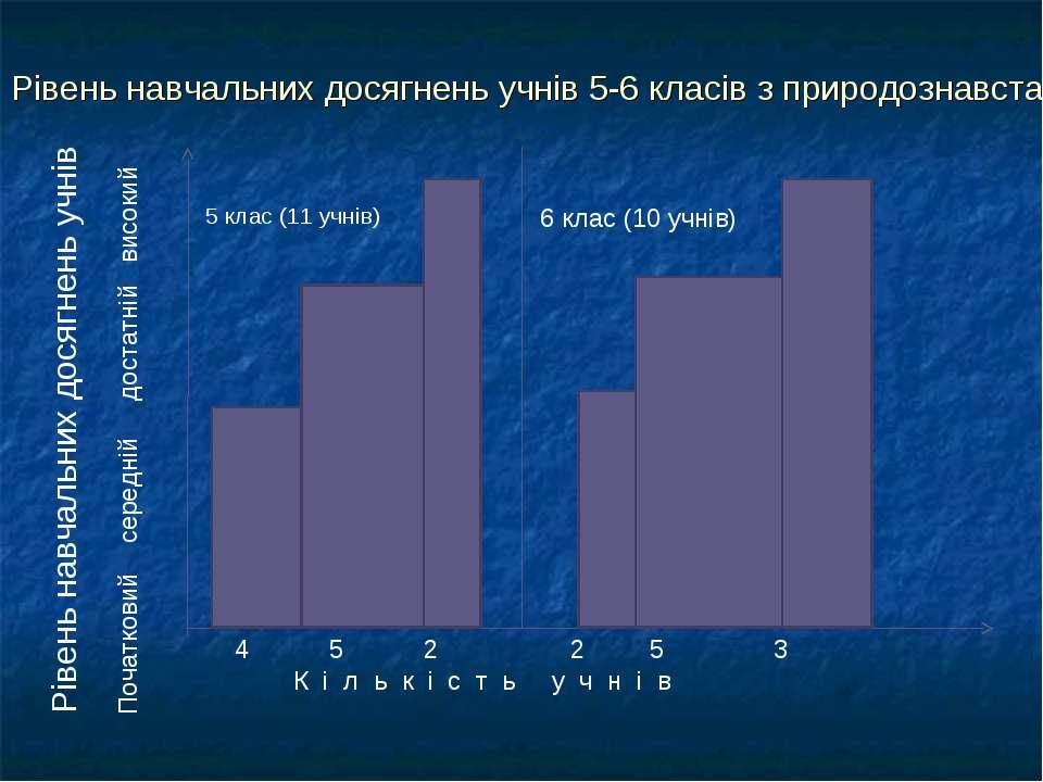 Рівень навчальних досягнень учнів 5-6 класів з природознавста Рівень навчальн...