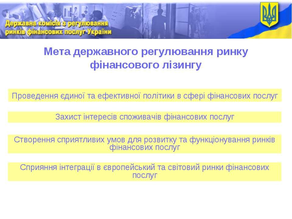 Мета державного регулювання ринку фінансового лізингу Проведення єдиної та еф...