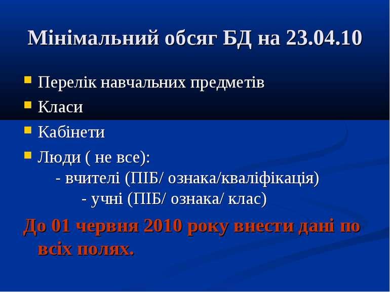 Мінімальний обсяг БД на 23.04.10 Перелік навчальних предметів Класи Кабінети ...