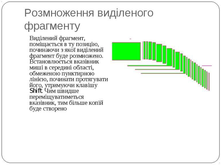 Розмноження виділеного фрагменту Виділений фрагмент, поміщається в ту позицію...