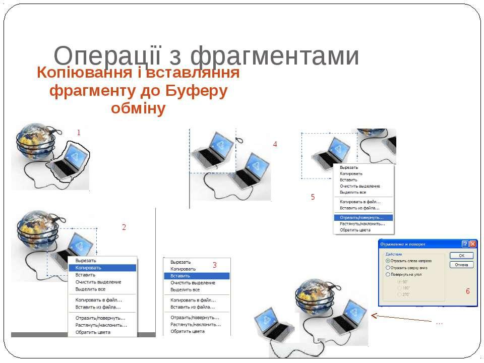 Копіювання і вставляння фрагменту до Буферу обміну Операції з фрагментами 1 2...