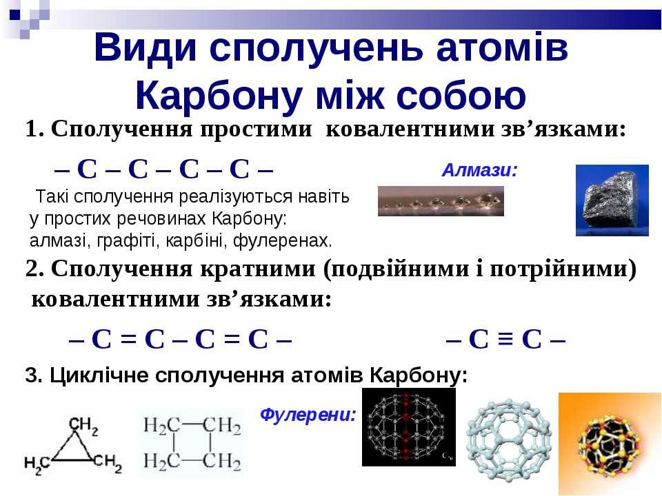 Види сполучень атомів Карбону між собою 1. Сполучення простими ковалентними з...