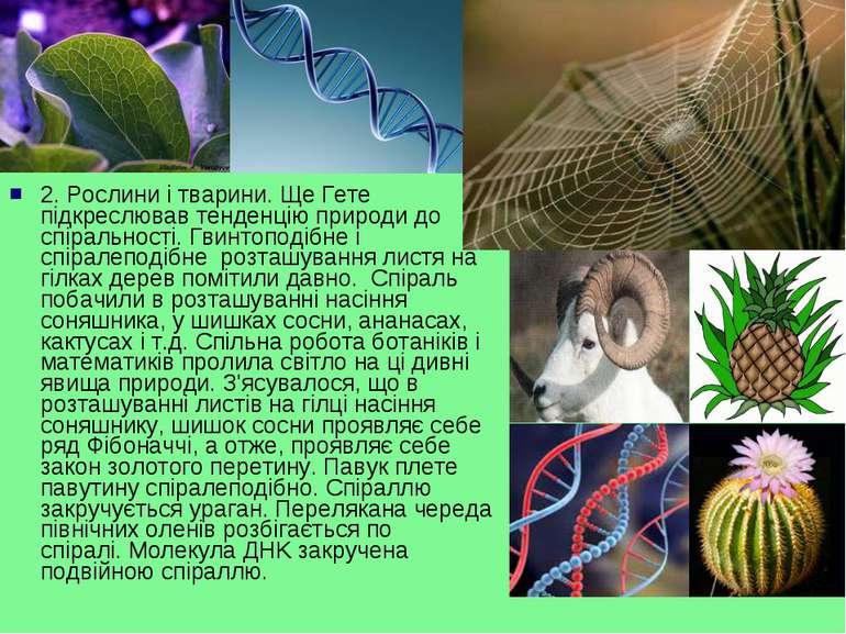 2.Рослини і тварини.Ще Гете підкреслював тенденцію природи до спіральності....
