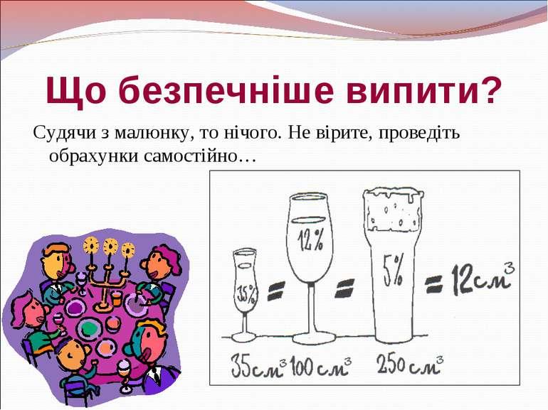 Що безпечніше випити? Судячи з малюнку, то нічого. Не вірите, проведіть обрах...