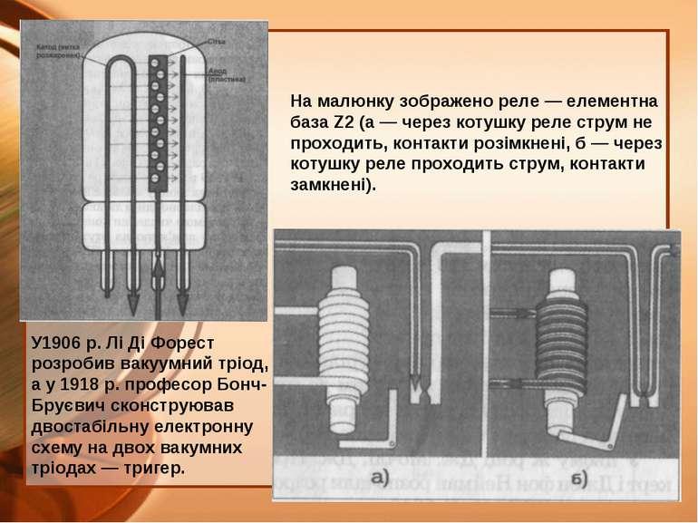 У1906 p. Лі Ді Форест розробив вакуумний тріод, а у 1918 р. професор Бонч-Бру...