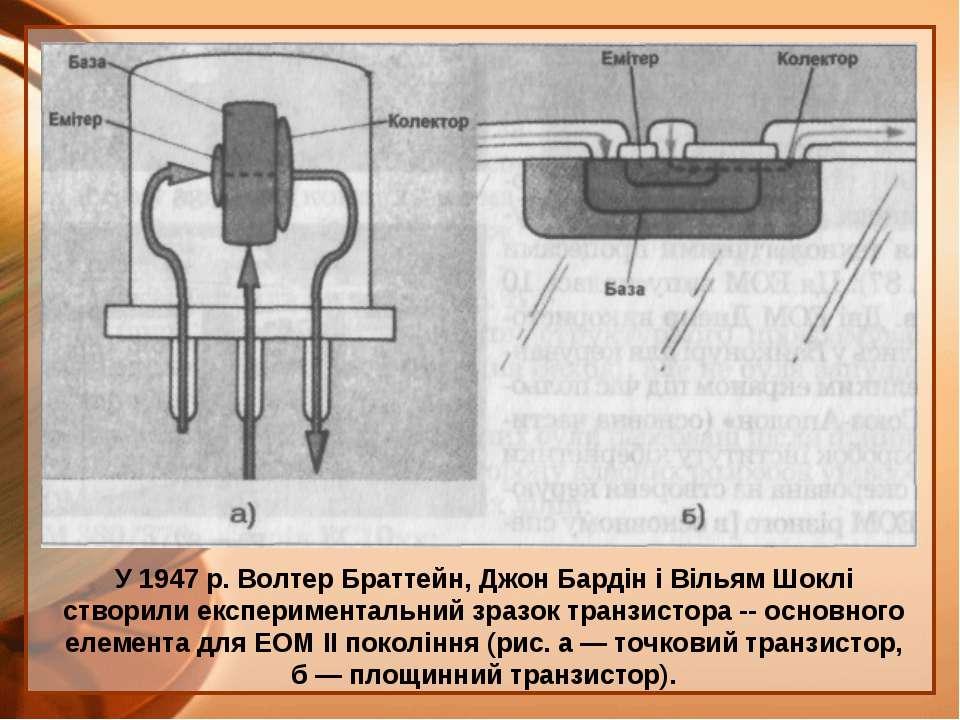 У 1947 р. Волтер Браттейн, Джон Бардін і Вільям Шоклі створили експерименталь...