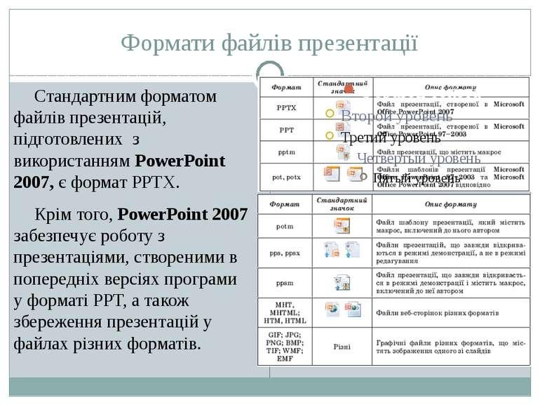 Формати файлів презентації Стандартним форматом файлів презентацій, підготовл...