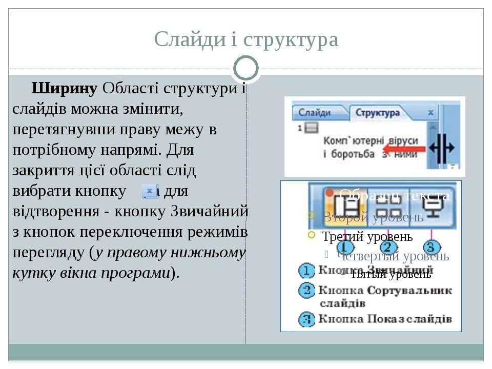 Слайди і структура Ширину Області структури і слайдів можна змінити, перетягн...