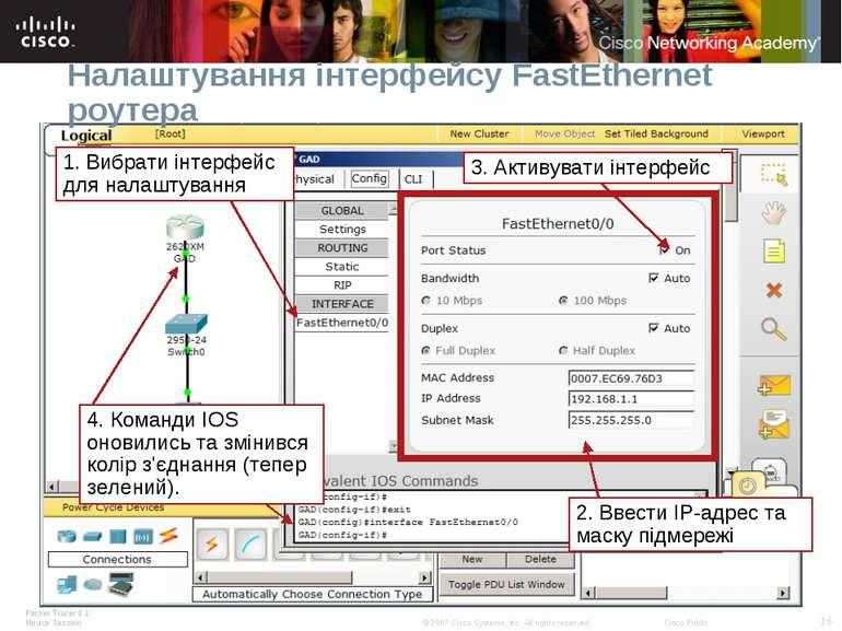 Налаштування інтерфейсу FastEthernet роутера Packet Tracer 4.1: Novice Sessio...
