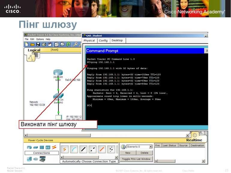 Пінг шлюзу Виконати пінг шлюзу Packet Tracer 4.1: Novice Session * © 2007 Cis...