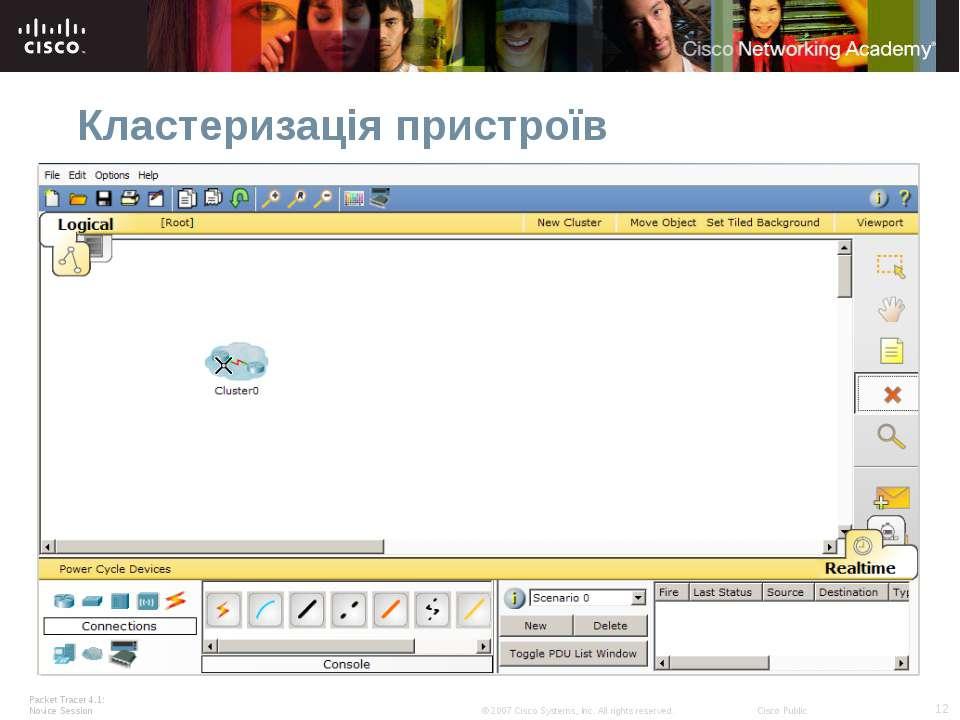 Кластеризація пристроїв Packet Tracer 4.1: Novice Session * © 2007 Cisco Syst...