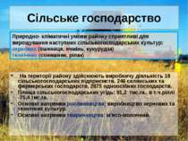 Сільське господарство На території району здійснюють виробничу діяльність 18 ...
