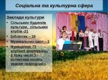 Соціальна та культурна сфера Заклади культури Сільських будинків культури, сі...