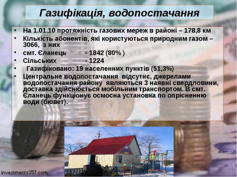 Газифікація, водопостачання На 1.01.10 протяжність газових мереж в районі – 1...