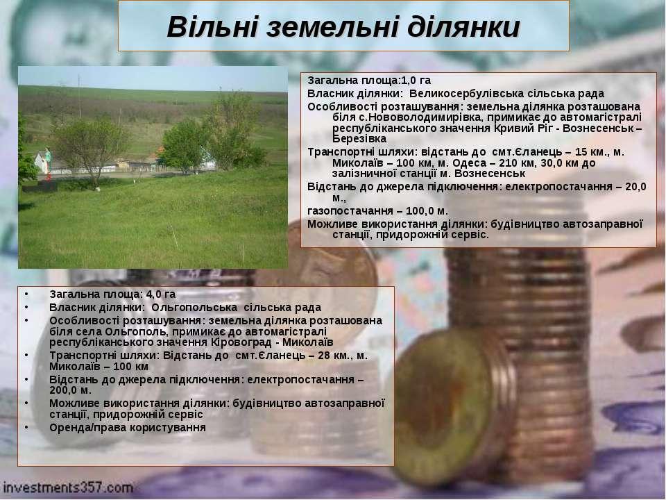 Вільні земельні ділянки Загальна площа:1,0 га Власник ділянки: Великосербулів...