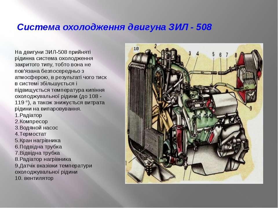 Система охолодження двигуна ЗИЛ - 508 На двигуни ЗИЛ-508 прийняті рідинна сис...