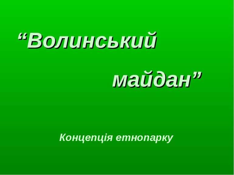 """""""Волинський майдан"""" Концепція етнопарку"""