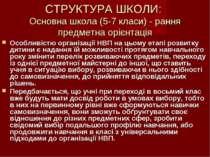 СТРУКТУРА ШКОЛИ: Основна школа (5-7 класи) - рання предметна орієнтація Особл...