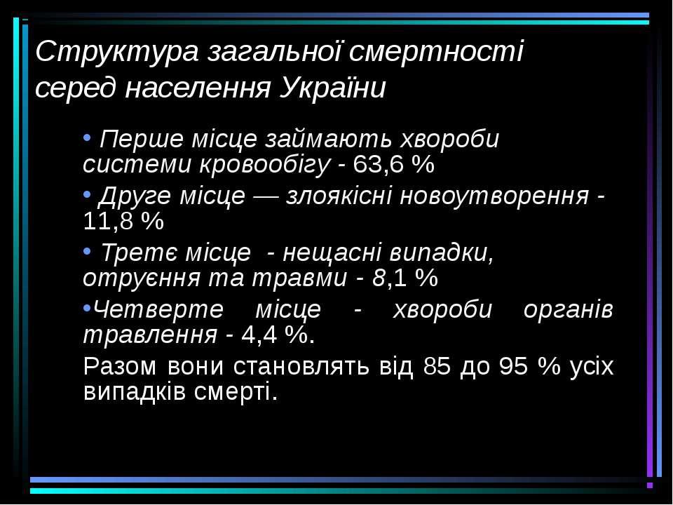 Структура загальної смертності серед населення України Перше місце займають х...
