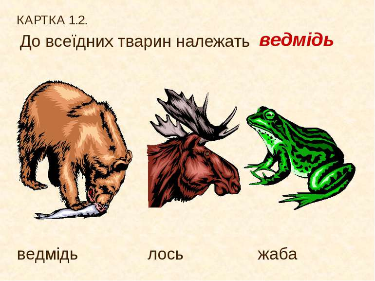 КАРТКА 1.2. До всеїдних тварин належать ведмідь лось жаба ведмідь