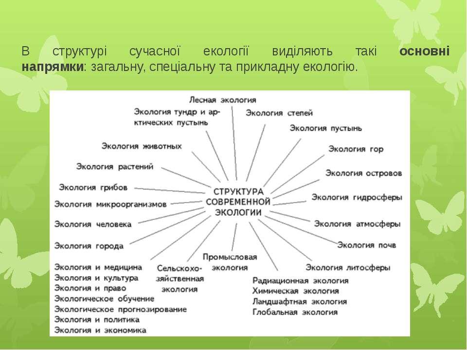 В структурі сучасної екології виділяють такі основні напрямки:загальну,спец...