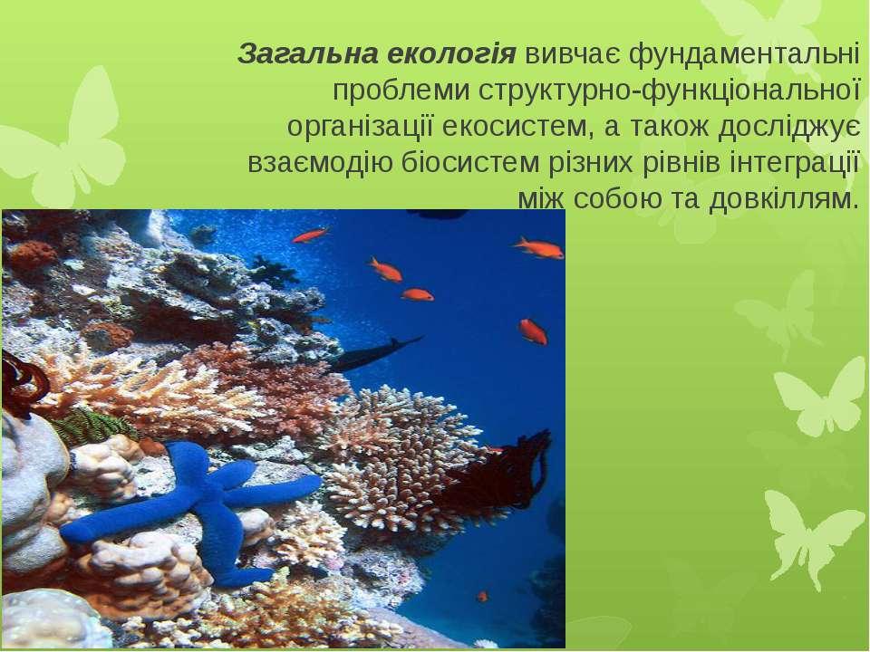 Загальна екологіявивчає фундаментальні проблеми структурно-функціональної ор...