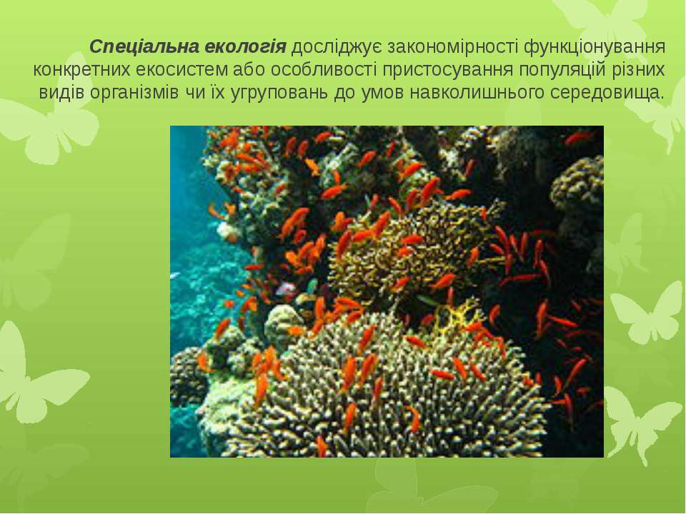 Спеціальна екологіядосліджує закономірності функціонування конкретних екосис...