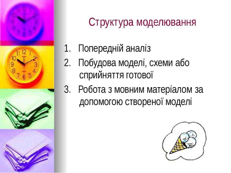 Структура моделювання 1. Попередній аналіз 2. Побудова моделі, схеми або спри...