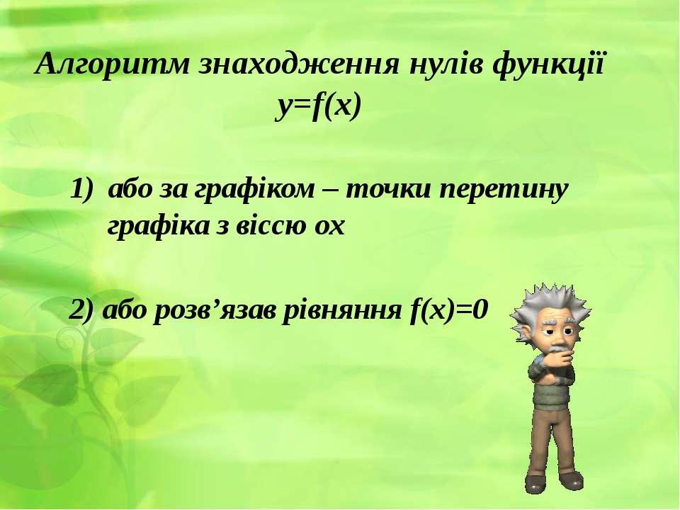 Алгоритм знаходження нулів функції y=f(x) або за графіком – точки перетину гр...