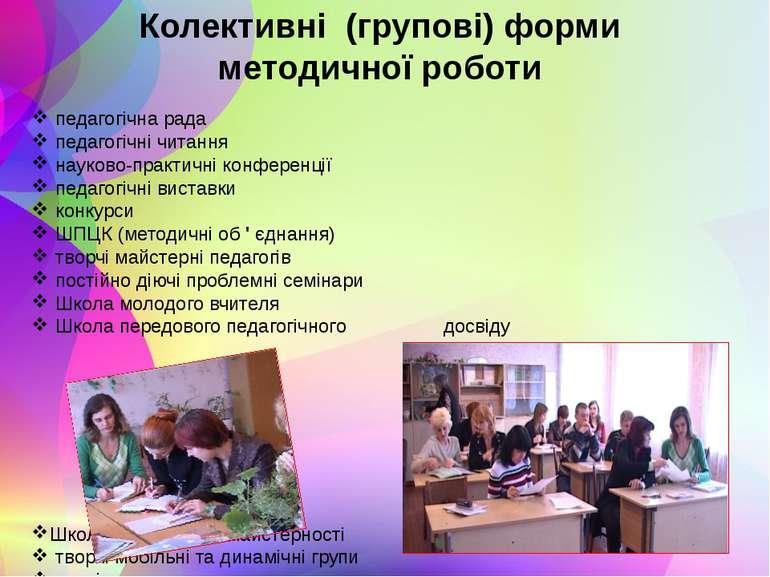 Колективні (групові) форми методичної роботи педагогічна рада педагогічні чит...
