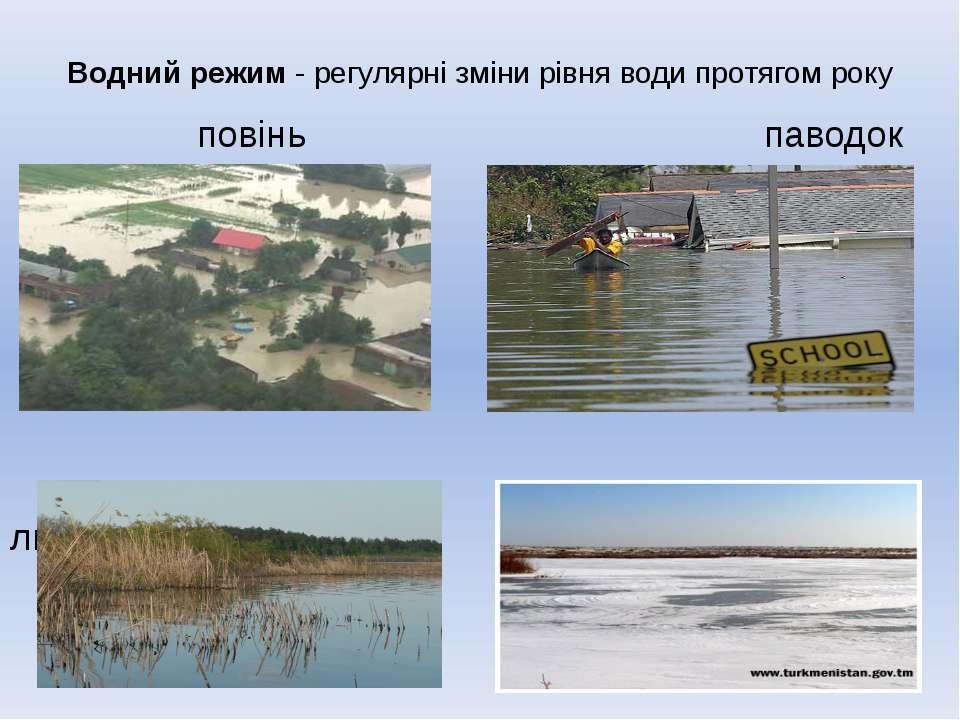 Водний режим - регулярні зміни рівня води протягом року повінь паводок межень...