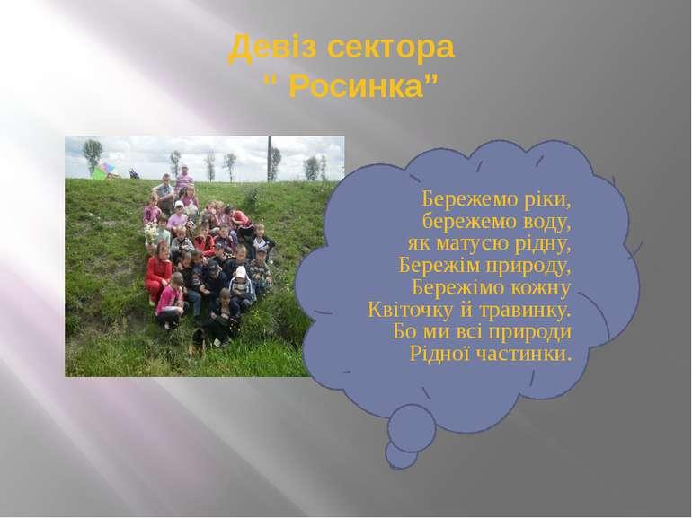"""Девіз сектора """" Росинка"""" Бережемо ріки, бережемо воду, як матусю рідну, Береж..."""