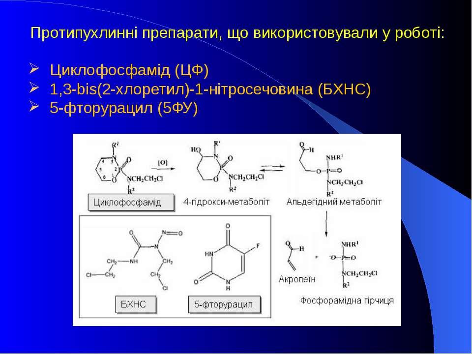 Протипухлинні препарати, що використовували у роботі: Циклофосфамід (ЦФ) 1,3-...